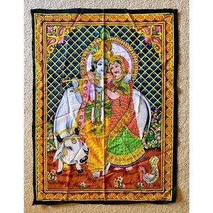 Colorful Hindu tapestry Krishna